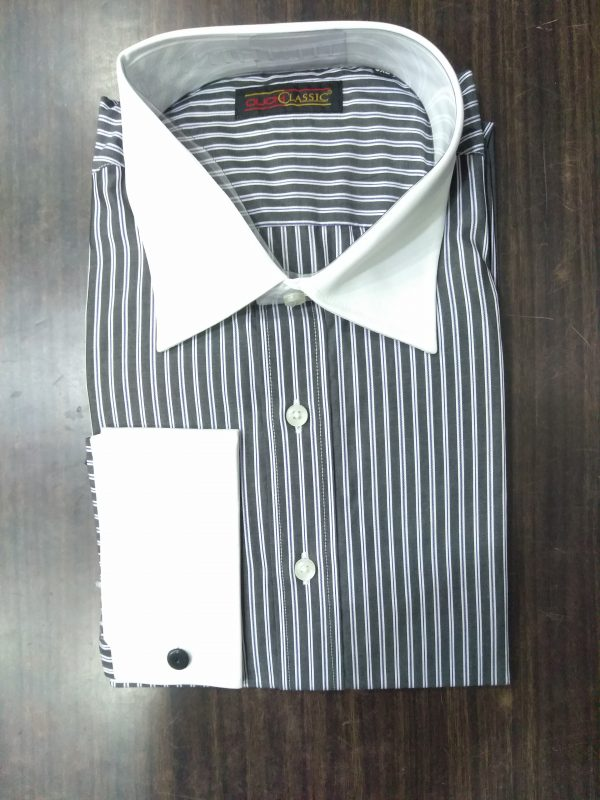 Ouch Classic Winchester Shirt-Black & white Stripe