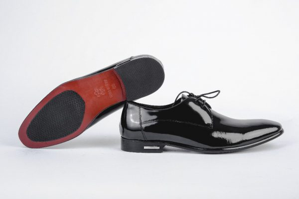 Ouch Heritage Shoe - Black Shining Patent Lace Up