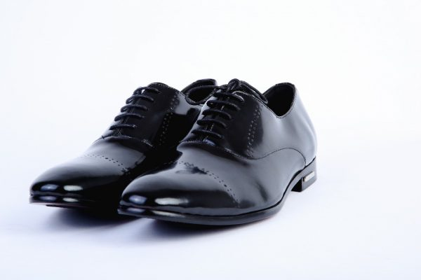 Ouch Heritage Shoe - Black Patent Oxford Design Lace Up