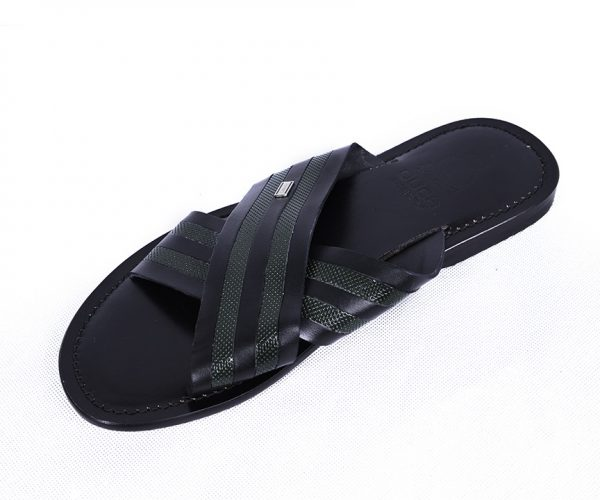 Ouch Slippers- Black With Green Cross Leather
