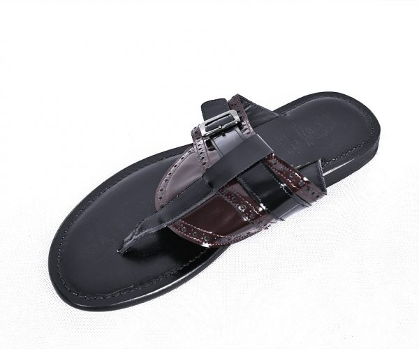 Ouch Slippers- Wine & Black Leather With Buckle