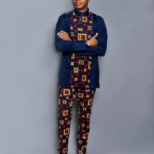 Deep Blue Designed Ouch Ankara Wear