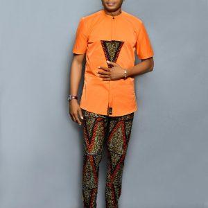 Orange Designed Ouch Ankara Wear