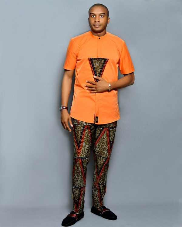 Orange Designed Ouch Ankara Wear
